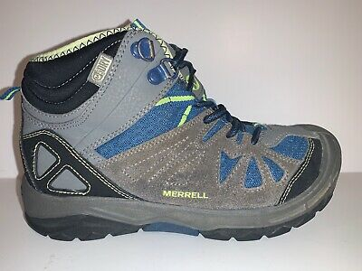 Merrell Capra Mid WTPF Boys Youth Kids 2.5 Hiking Boots Shoes Gray Black Blue