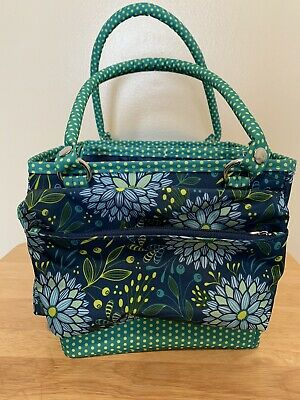 Everything Mary Craft Caddy- Storage Organizer Blue Green flowers and polka dots