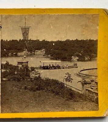 Stereoview New York NYC Central Park  - View of Lake From Terrace 1863 Anthony