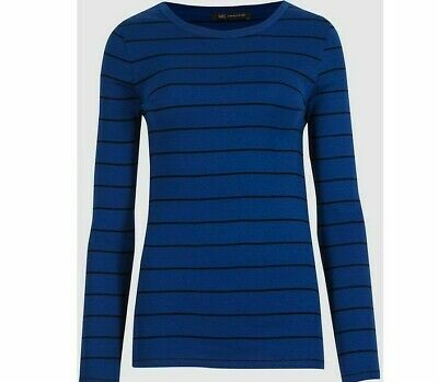 M&S Marks Spencer Ladies Navy Blue Striped ROUND Neck Long Sleeve T Shirt Top 14