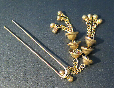 Vintage Asian Japanese Gold Plated Sterling Silver Hair Pin Ornament W/ Bells