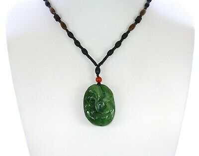 """1.8"""" China Certified Nature Hetian Nephrite Green Jade Happy Dragonfly Necklace"""