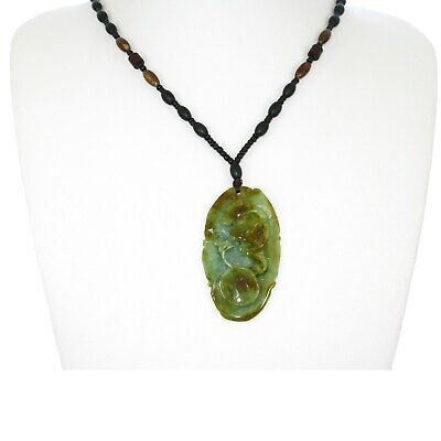 """2.4""""China Certified Grade A Nature Hisui Jadeite Jade Blessing Bat Necklace"""