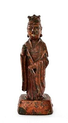 17C Ming Chinese Gilt Lacquer Bronze Immortal God Buddha Figure Figurine 1174G