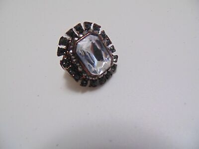 Style & Co. size 8 antiqued tone faux hematite diamond  cocktail ring G267