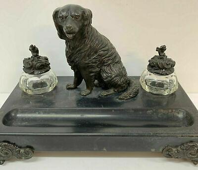 Antique  victorian desk stand Bronze Dog Spaniel Slate Stand Glass Inkwells