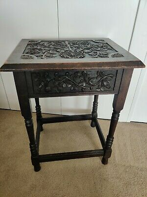 Small Victorian Oak Stool by Dudley. 18th century
