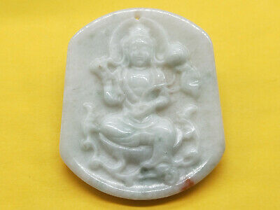 100% Chinese Hand-carved Delicate natural Jadeite jade Guanyin pendant 021