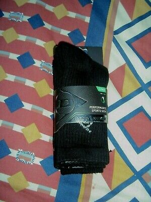 Dunlop  Twin Pack  Performance  Sports Socks  Aerodry/Antiodr  Black  Uk 1 - 6