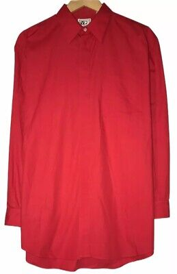 V2 by Versace Mens Size 16R Red Long Sleeve Button Front Pocket Shirt Cotton euc