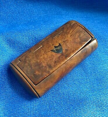 Antique Georgian/Early Victorian Carved Burr Walnut Snuff Box, Great Patina