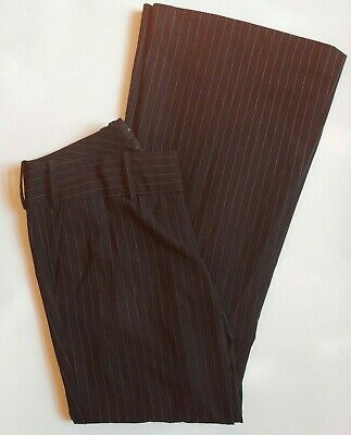 The Limited Drew Fit Dress Pants Size 4 Womens Bootcut Flare Black Pinstripe