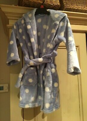 Child's Dressing Gown. Hardly worn. Soft and fluffy. Powder blue. 3-4yr. M&S