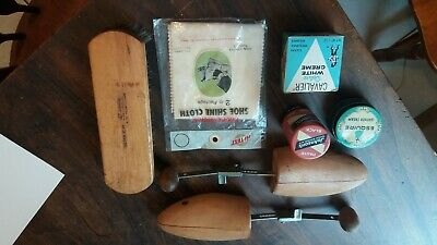 Vintage Shoe Shine Accessories including brush, polish, wood stretchers and more