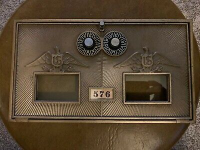 "Antique Vtg Brass Double Combination Post Office Door Corbin 87-A (6 1/4 X 11"")"
