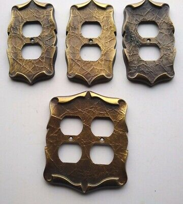 Amerock VIntage Metal Outlet Covers (3) Singles & (1) Double Bronze Colored