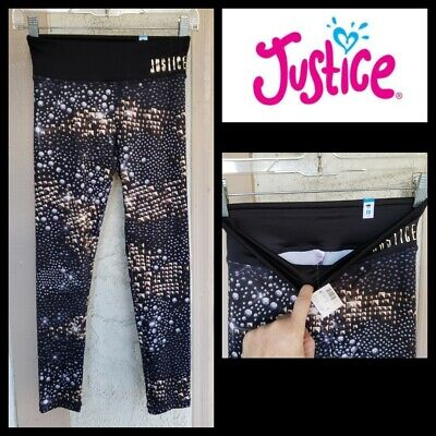 NEW girls JUSTICE athletic exercise print legging pants 10