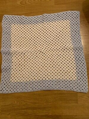 Baby Blanket Small Hand Knitted/crocheted Blue Ivory