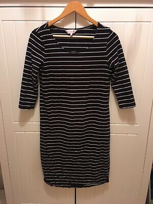 Maternity dress size 14 Red Herring navy with white stripes sleeves knee length