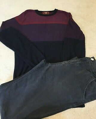 Next Blue Chino Type Trousers, Adjustable Waist And Jumper Bundle Age 14