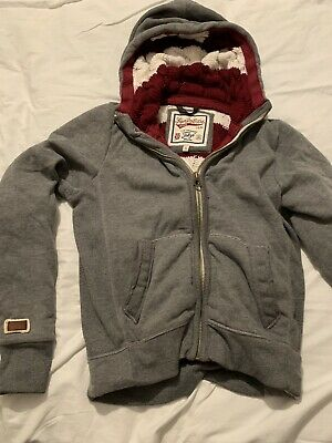 superdry zip hoodie Grey With Knitted Inside Youth small.