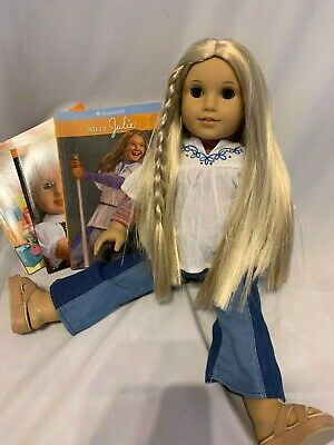 "American Girl Doll Julie Albright Blonde Hair Brown Eyes 18"" Tall ,3 books"