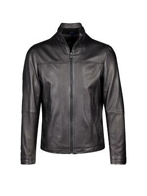 HUGO BOSS Men's NILAS 1 Black Lambskin Leather Moto Jacket Size 40 R US New $695