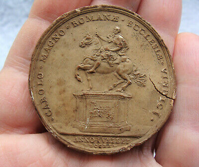 Rare Large Antique 18th Century Wax Seal Impression of Charlemagne 1725 Statue