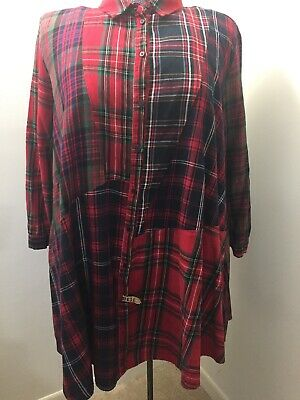 Zara Women's Blouse Red/Green/Black Plaid Button Front Loose Fit