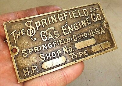SPRINGFIELD CAST BRASS REPRODUCTION NAME TAG Hit and Miss Old Gas Engine