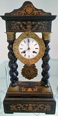 Antique French Empire Portico Clock with Inlay & Barley Twist Supports