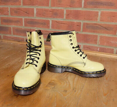Dr Martens Vintage Made In England Pastel Yellow 8 Hole Boots Shoes UK 6