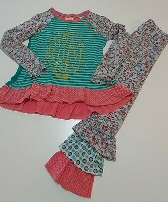 MATILDA JANE Make Believe In Disguise  Clock Tunic Striped Leggings Sz 8 Outfit