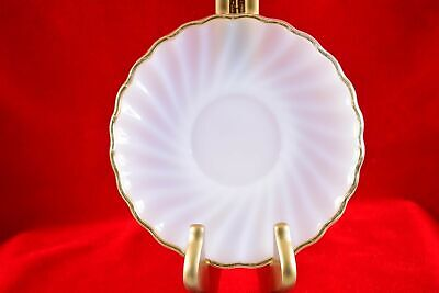 Mid-Century Anchor Hocking Fire King Swirl Milk Glass Scalloped Gold Rim Saucer