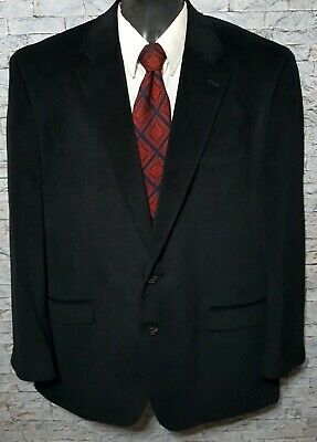 CHAPS Men's (46L) Black 100% Polyester 2 Button Blazer Sport Coat Jacket