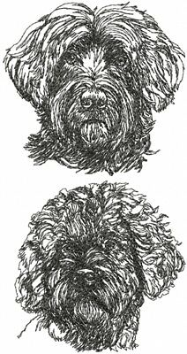 Portuguese Water Dog Breed Graphic SET OF 2 HAND TOWELS EMBROIDERED