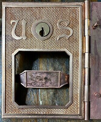 Antique BRASS US POST OFFICE BOX DOOR DATED 1893 Missing Glass