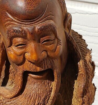Antique or Vintage Chinese Bamboo Figure Old Man hand carved by master 22 inches