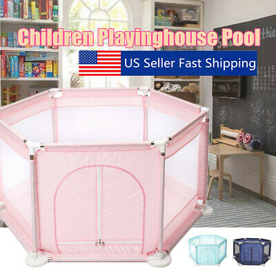 6 Sided Baby Playpen Playinghouse Interactive Kids Toddler Room With Safety Gate