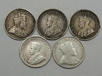 5 Silver Canadian Five Cent Coins: 1903-H, 1907, 1913, 1914 & 1920.  #41