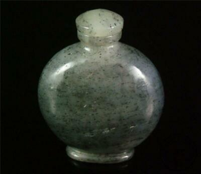 Fine Old Chinese Celadon Nephrite Jade Carved Snuff Bottle DELICATE STYLE