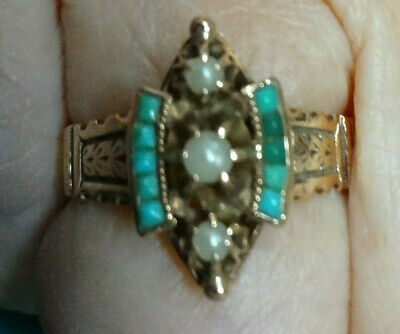 Georgeous antique victorian seed pearl and turquoise ring 14k rose gold