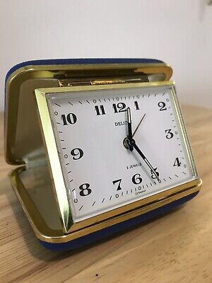 Vintage carriage travel alarm clock wind up 2jewels working nicely-germany