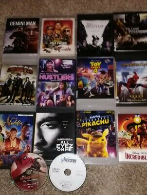 12 DVD Lot New Releases (Gemini Man, Once Upon A Time, Aladdin, Hustlers, etc.)