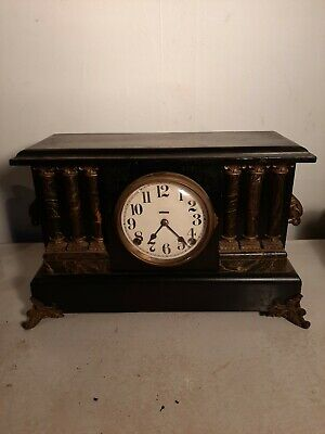 WORKING Antique FAUX MARBLE COLUMS Ingraham 8 Day Mantle Clock EARLY 1900S