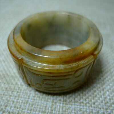 Chinese jadeware old jade hand carved jade ring 723