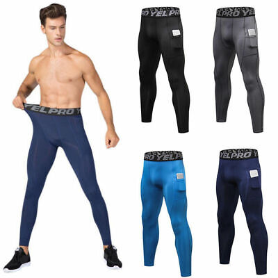 AU Men Quick Dry Fitness Running Tights Compression Sports Pocket Pants Trousers