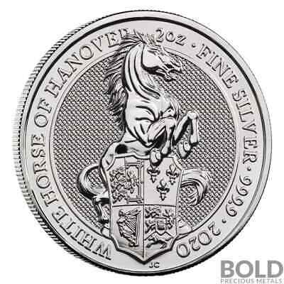 2020 Britain Queen's Beasts White Horse of Hanover 2 oz Silver BU