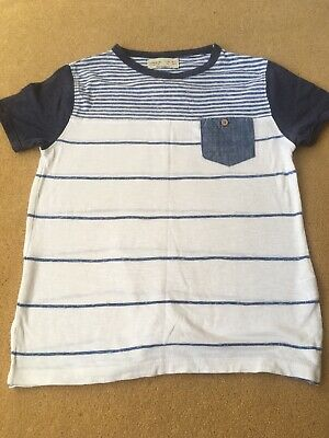 Zara Boys Collection Age 6-7 Boys Blue White Striped Short Sleeved T-Shirt