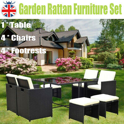 9 Piece Rattan Garden Furniture Patio Set Table Chairs Sofa Indoor Outdoor Black
